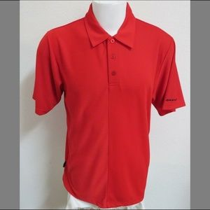 Sz L Red Oakley Golf MENS Polyester #58Q Polo